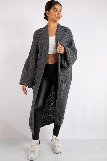 Yara Charcoal Grey Knit Long Cardigan