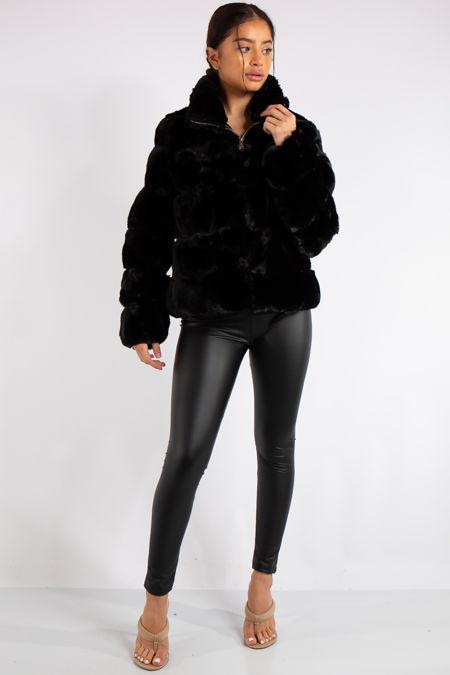 Samira Black Cropped Faux Fur Coat