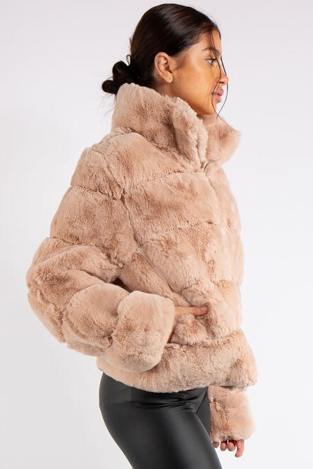 Samira Blush Cropped Faux Fur Coat