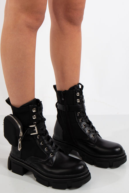 Milano Black Chunky Sole Pouch Ankle Boots