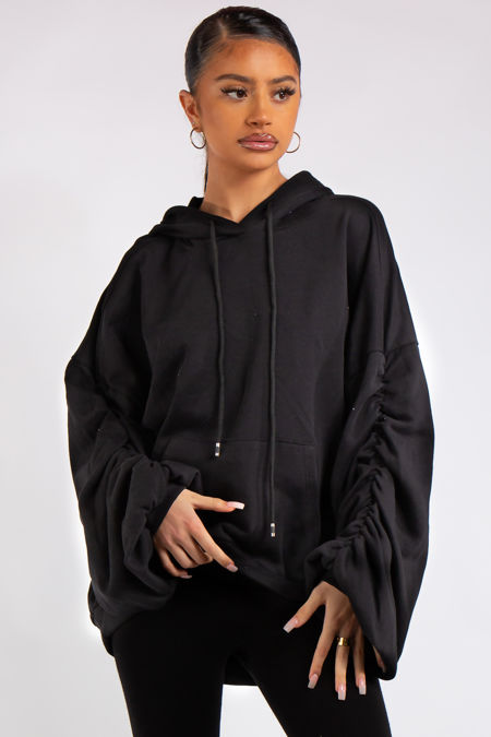 Ava Black Ruched Oversized Hoodie