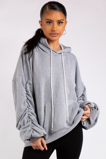 Ava Grey Ruched Oversized Hoodie