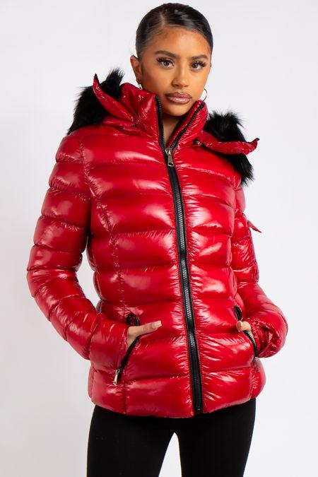 Emma Red Padded High Shine Puffer Coat