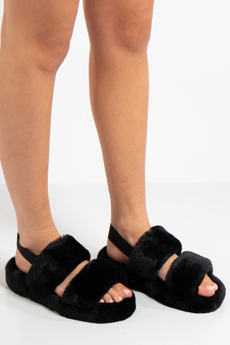 Lydia Black Fluffy Slippers