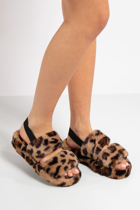Lydia Leopard Fluffy Slippers