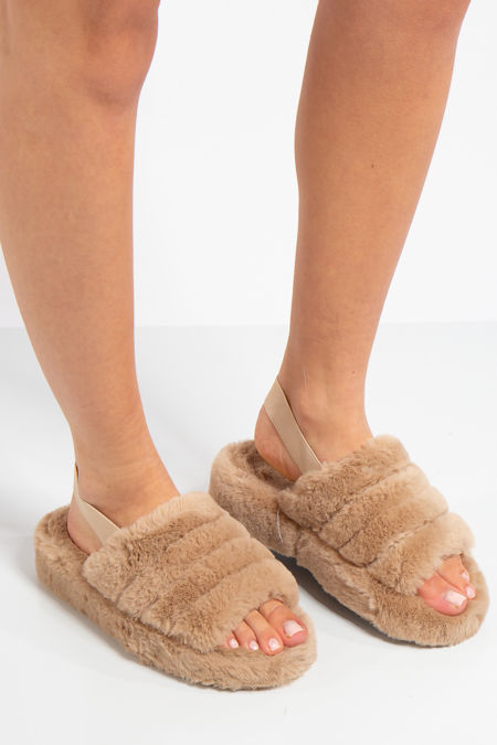 Juliet Taupe Fluffy Slippers