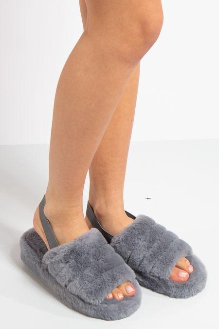Juliet Grey Fluffy Slippers
