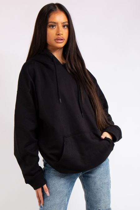 Victoria Black Oversized Drawstring Hoodie