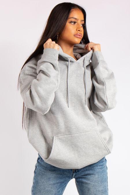 Victoria Grey Oversized Drawstring Hoodie