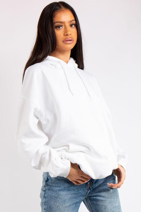 Victoria White Oversized Drawstring Hoodie