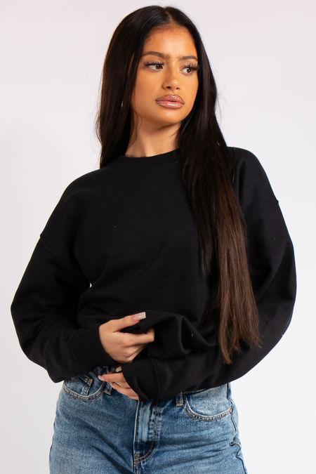 Aria Black Oversized Sweatshirt