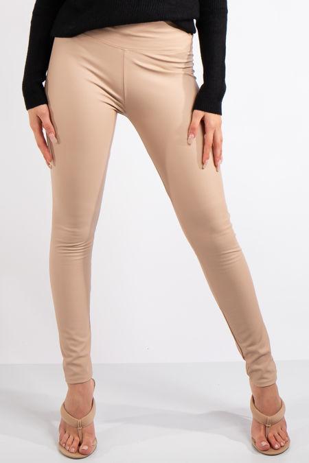 Athena  Beige High Waist Faux Leather Skinny Leggings