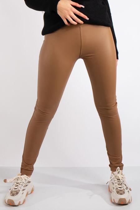 Athena Tan High Waist Faux Leather Skinny Leggings