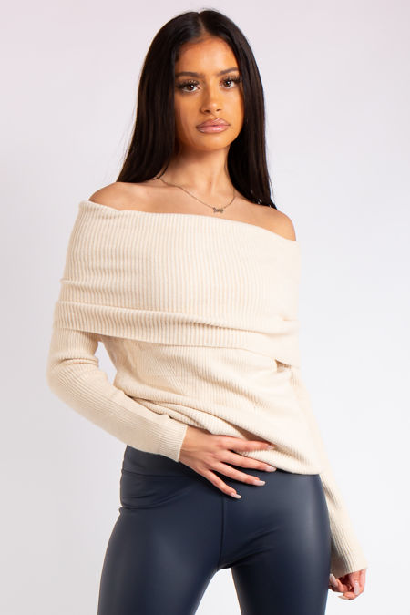 Madison Cream Off the Shoulder Knitted Jumper