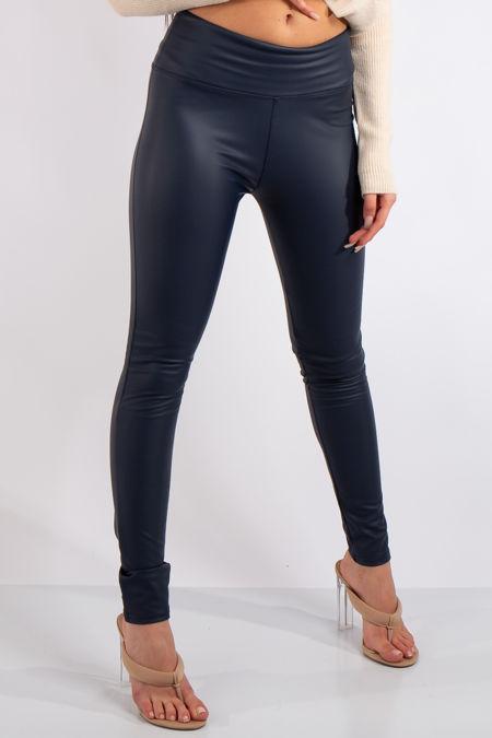 Athena Navy High Waist Faux Leather Skinny Leggings