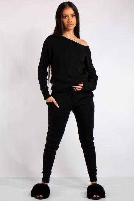 Madison Black Off Shoulder Knit Loungewear Set