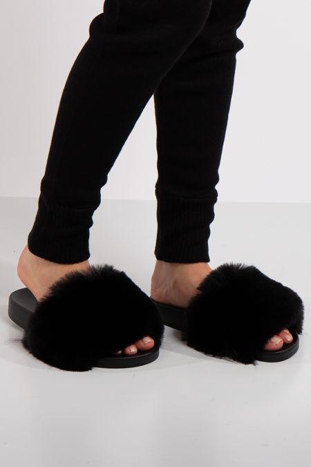 Natalie Black Faux Fur Slider