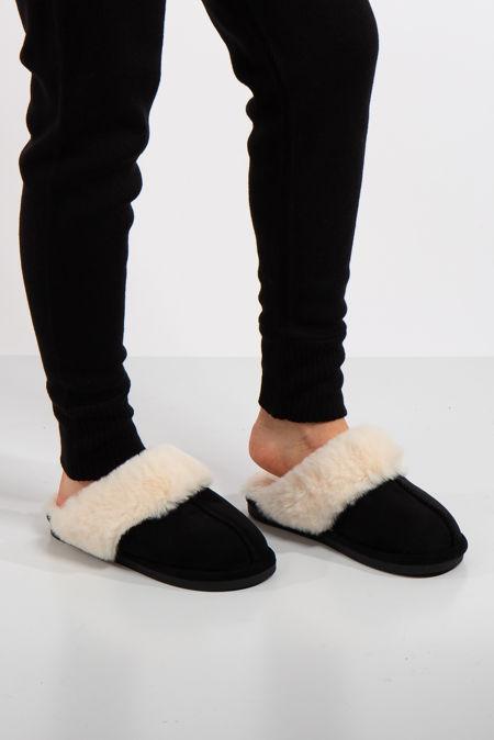 Scuff Black Faux Suede Slippers