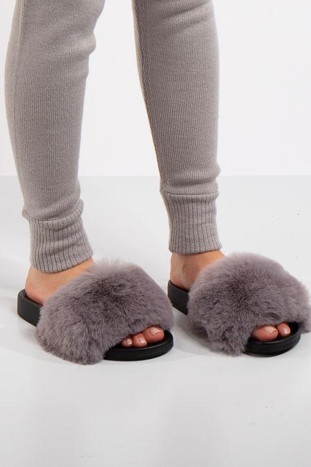 Natalie Grey Faux Fur Slider