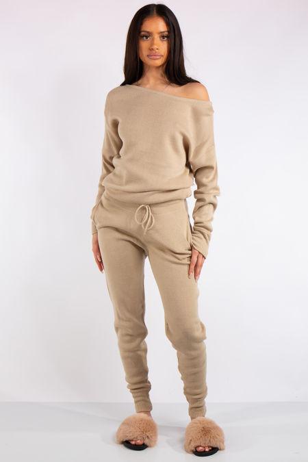 Madison Stone Off Shoulder Knit Loungewear Set