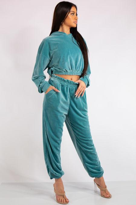Amelia Turquoise Velour Cropped Hoodie Loungewear Set