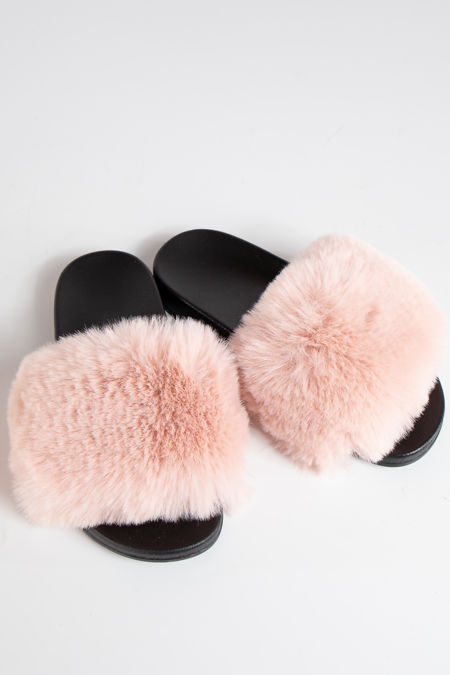 Natalie Pink Faux Fur Slider