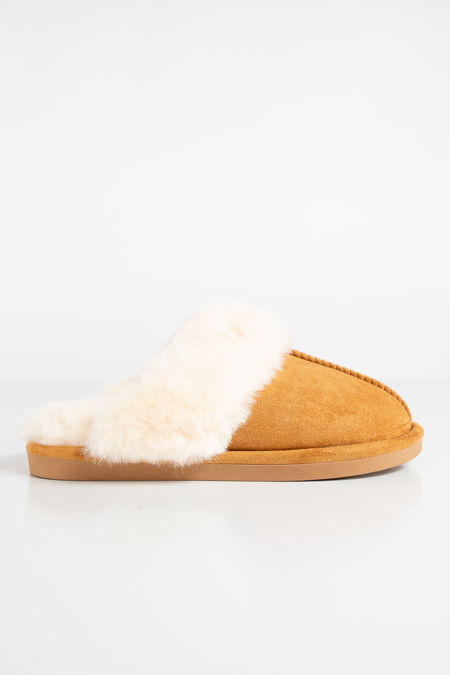 Scuff Camel Faux Suede Slippers