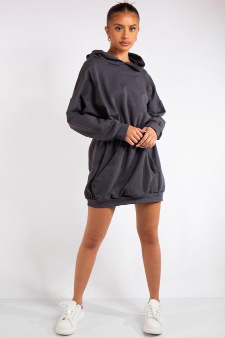 Oaklee Grey Hooded Elastic Jumper Dress