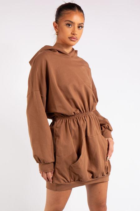 Oaklee Tan Hooded Elastic Jumper Dress