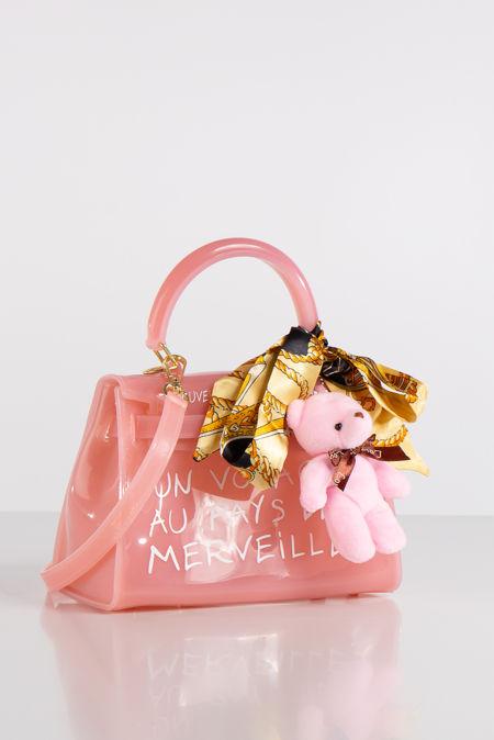 Jelly Pink Perspex Graffiti Mini Bag