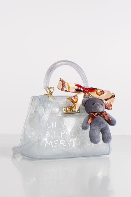 Jelly Silver Glitter Perspex Graffiti Mini Bag