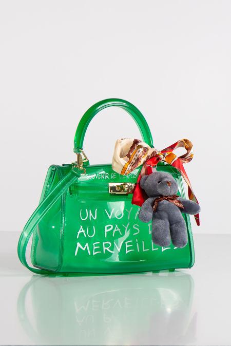 Jelly Green Perspex Graffiti Mini Bag