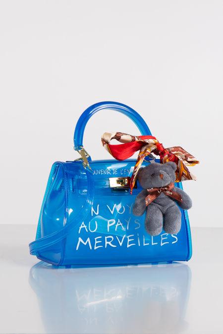 Jelly Blue Perspex Graffiti Mini Bag