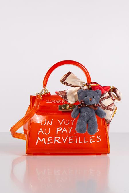 Jelly Orange Perspex Graffiti Mini Bag