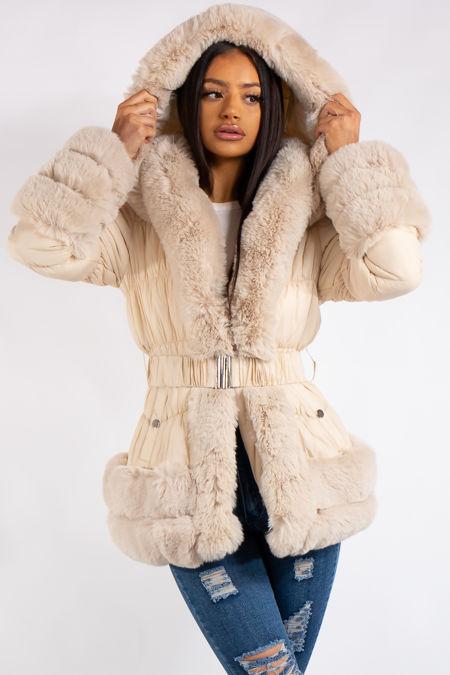 Hanna Cream Faux Fur Belted Puffer Coat