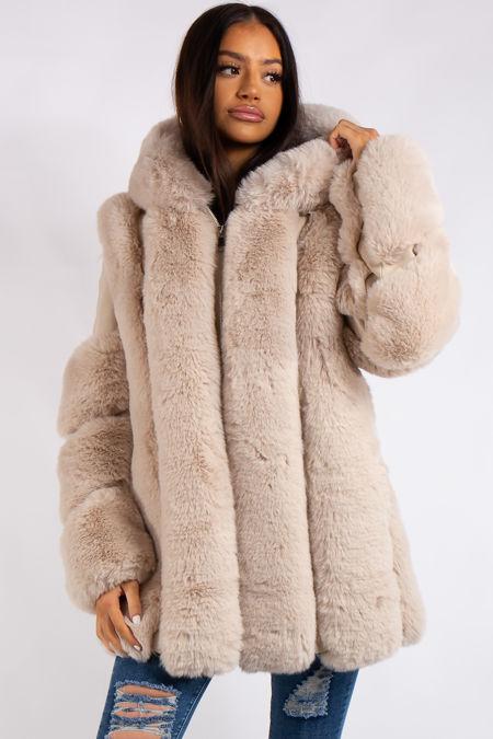 Aleah Cream Faux Fur & leather Coat