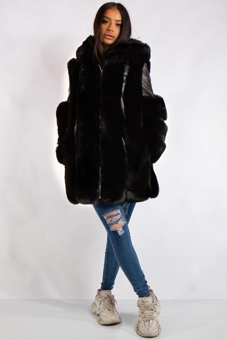 Aleah Black Faux Fur & leather Coat