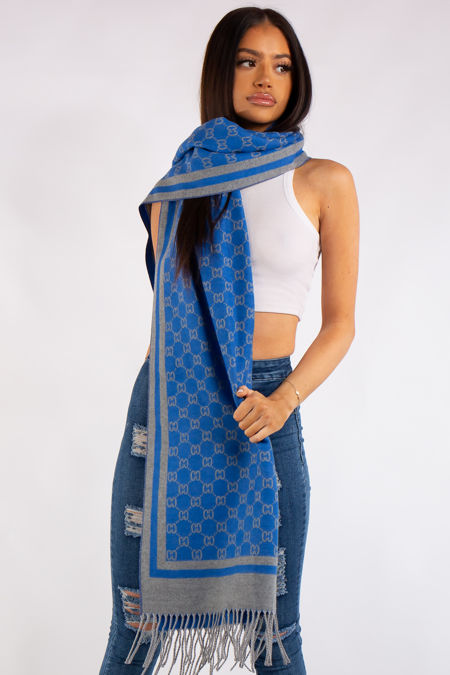 Milan Inspired Blue and Grey Reversible Cashmere Scarf