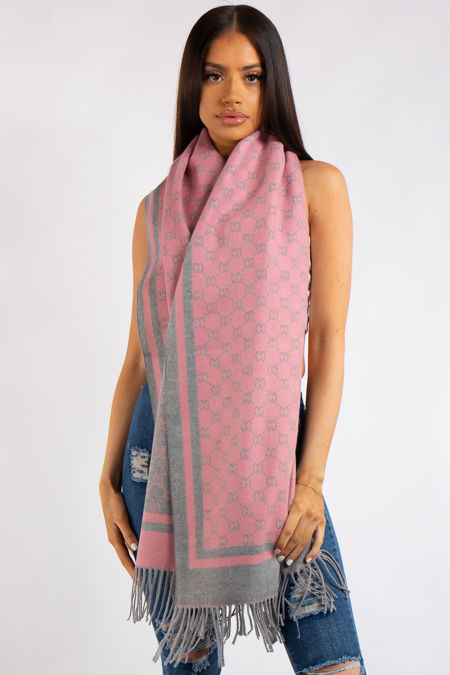 Milan Inspired Pink and Grey Reversible Cashmere Scarf.