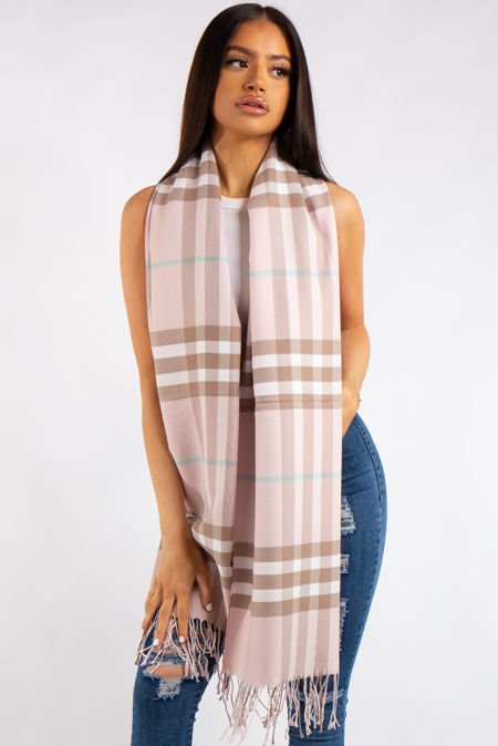 Pink Classic Check Cashmere Scarf