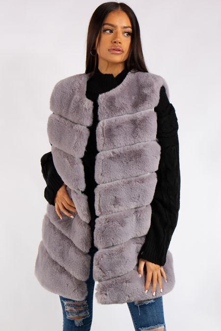 Aranza Light Grey Faux Fur Gilet