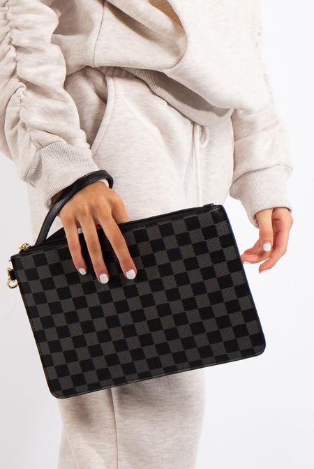 Macy Black Checked Clutch Bag