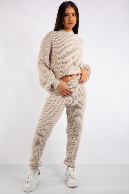 Jaliyah Stone Cable Knit Loungewear Set