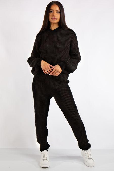 Jaliyah Black Cable Knit Loungewear Set