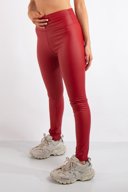 Athena Red High Waist Faux Leather Skinny Leggings