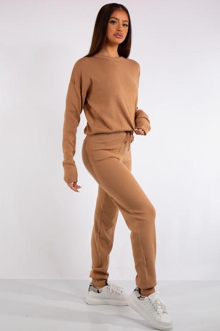 Carlee Tan Knit Loungewear Tracksuit Set