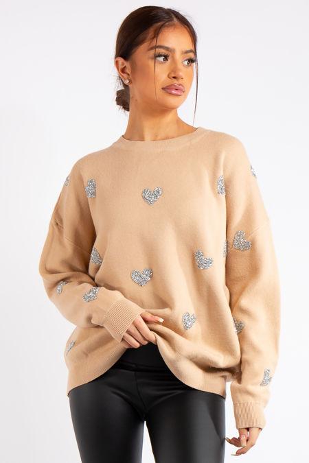 Legacy Camel Heart Knit Jumper