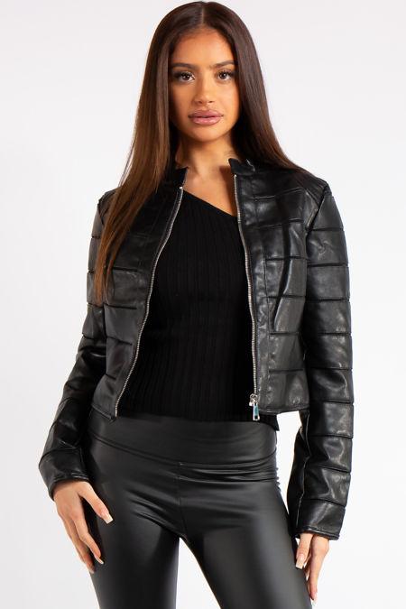 Carla Black Faux Leather Biker Jacket