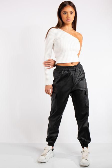 Jenny Black PU Cargo Jogger Pants