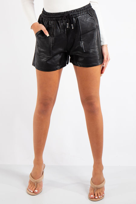 Holland Black Faux Leather Shorts